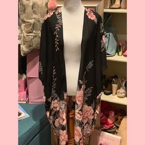 Sheer Floral Kimono Cover Up